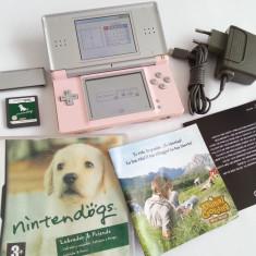 Consola Nintendo DS Lite special gri-roz + joc + alimentator + capac slot gba