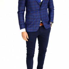 Sacou tip Zara bleumarin in carouri - sacou barbati - sacou casual 7528, Marime: 46, 48, 50, Culoare: Din imagine