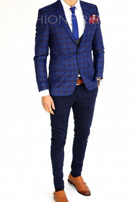Sacou tip Zara bleumarin in carouri - sacou barbati - sacou casual 7528 foto mare