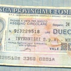A2237 ASIGNAT BILET BANCA PROVINCIALE LOMBARDA-ITALIA- 200 LIRE-starea cese vede - Cambie si Cec