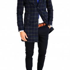 Palton in carouri bleumarin - palton barbati - cod 7520, Marime: S, M, L, Culoare: Din imagine