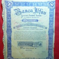 Titlu de 10 Actiuni 5000 lei Banca Ilfov 1934, Timbru Fondul Aviatiei