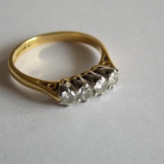 Inel de aur 14 ct cu moissanit 1, 2k -600 - Inel aur, Carataj aur: 14k, Culoare: Galben