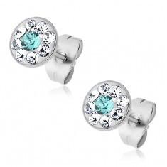 Cercei din oțel cu cristale Swarovski bleu și transparente, cercei cu șurub - Cercei Swarovski