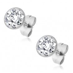 Cercei din oțel cu mici cristale Swarovski încrustate - Cercei Swarovski