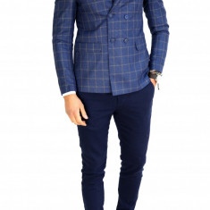 Sacou tip Zara bleumarin in carouri - sacou barbati - sacou casual 7530, Marime: 48, 50, 52, 56, Culoare: Din imagine