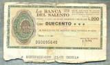 A2231 ASIGNAT BILET BANCA DEL SALENTO- LECCE -ITALIA - 200 LIRE-starea cese vede