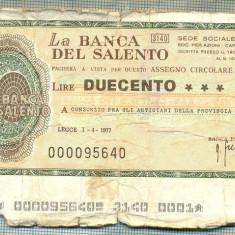 A2231 ASIGNAT BILET BANCA DEL SALENTO- LECCE -ITALIA - 200 LIRE-starea cese vede - Cambie si Cec