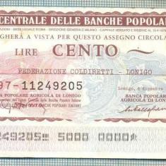 A2254 ASIGNAT BILET BANCA L'ISTITUTO CENTRALE -ITALIA- 100 LIRE-starea cese vede - Cambie si Cec