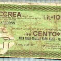 A2211 ASIGNAT BILET BANCA ICCREA ROMA- 100 LIRE-starea cese vede - Cambie si Cec