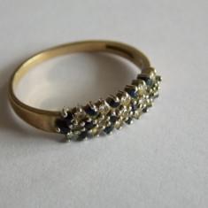Inel de aur cu zirconii albe si albastre -18 k -521 - Inel aur, Culoare: Galben