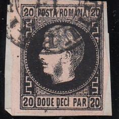 ROMANIA 1867 , CAROL I CU FAVORITI VAL. 20 PARALE  HARTIE SUBTIRE/FRAGMENT STAMP