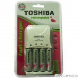 INCARCATOR PROFESIONAL TOSHIBA+4 ACUMULATORI AA 2000mAH ,INCARCA 4 ACUMULATORI.