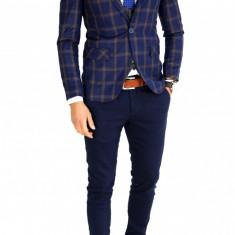 Sacou tip Zara bleumarin in carouri - sacou barbati - sacou casual 7529, Marime: 46, Culoare: Din imagine