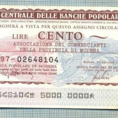 A2255 ASIGNAT BILET BANCA L'ISTITUTO CENTRALE -ITALIA- 100 LIRE-starea cese vede - Cambie si Cec