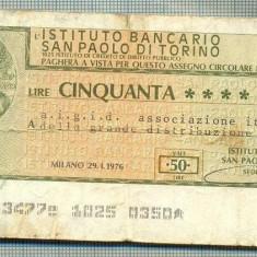 A2203 ASIGNAT BILET BANCA INSTITUTO BANCARIO - 50 LIRE-starea cese vede - Cambie si Cec