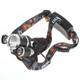 Lanterna Boruit frontala cu acumulatori 3 led-uri si zoom