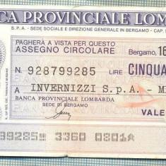 A2232 ASIGNAT BILET BANCA PROVINCIALE LOMBARDA-ITALIA- 50 LIRE-starea cese vede - Cambie si Cec