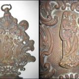 Stativ antic Apa Sfintita Fecioara cu Pruncul bronz perioada 1850-1900.