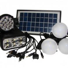 Sistem solar cu panou, 3 becuri si lanterna GD8007
