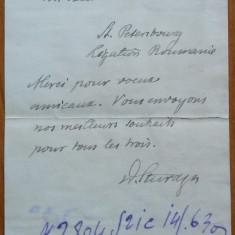 Bilet scris olograf de Dimitrie Sturdza catre Rosetti dela Legatia Romana, 1911 - Autograf