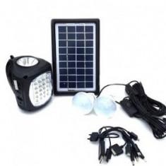 Kit panou solar GDLite8009 cu acumulator 6v4A, radio, slot USB