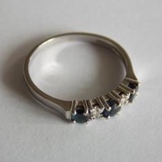Inel din aur alb 18k cu safire di diamante-673 - Inel aur alb