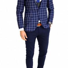Sacou tip Zara bleumarin in carouri - sacou barbati - sacou casual 7527, Marime: 48, 50, Culoare: Din imagine