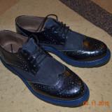 Pantofi din piele albastri - Adidasi copii, Marime: 37, Culoare: Albastru, Unisex