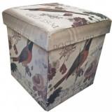 Taburet textil Randunica cu spatiu depozitare - Cutie depozitare