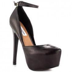 Pantofi înalți cu toc din piele naturală Steve Madden Deeny, negri (37) - Pantof dama Steve Madden, Culoare: Negru