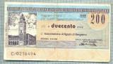 A2245 ASIGNAT BILET BANCA POPOLARE DI BERGAMO -ITALIA- 200 LIRE-starea cese vede