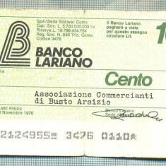 A2247 ASIGNAT BILET BANCA LARIANO -ITALIA- 100 LIRE-starea cese vede - Cambie si Cec