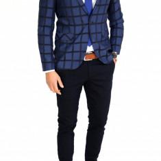 Sacou tip Zara bleumarin in carouri - sacou barbati - sacou casual 7521, Marime: 46, 48, Culoare: Din imagine