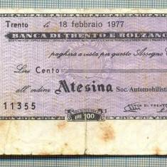 A2218 ASIGNAT BILET BANCA DI TRENTO E BOLZANO - 100 LIRE-starea cese vede - Cambie si Cec