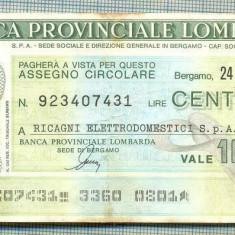 A2234 ASIGNAT BILET BANCA PROVINCIALE LOMBARDA-ITALIA- 100 LIRE-starea cese vede - Cambie si Cec