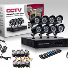 Sistem de supraveghere video cu DVR si 8 camere CCTV pentru interior exterior