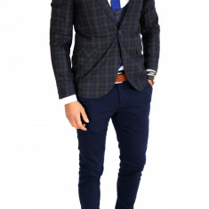Sacou tip Zara bleumarin in carouri - sacou barbati - sacou casual 7525, Marime: 46, 48, 50, Culoare: Din imagine
