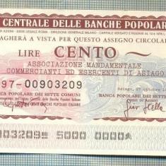 A2253 ASIGNAT BILET BANCA L'ISTITUTO CENTRALE -ITALIA- 100 LIRE-starea cese vede - Cambie si Cec