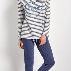 Pijama dama - Esotiq - art. Crayons, alb-blue - Pijamale dama ESOTIQ, Marime: 36, 38, 40, 42, Culoare: Albastru