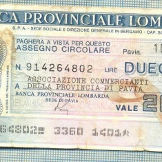 A2236 ASIGNAT BILET BANCA PROVINCIALE LOMBARDA-ITALIA- 200 LIRE-starea cese vede - Cambie si Cec