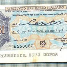 A2264 ASIGNAT BILET BANCA L'ISTITUTO BANCARIO -100 LIRE-starea cese vede - Cambie si Cec
