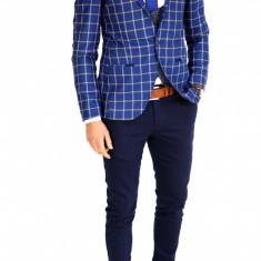 Sacou tip Zara bleumarin in carouri - sacou barbati - sacou casual 7526, Marime: 46, Culoare: Din imagine