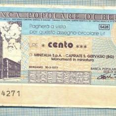 A2244 ASIGNAT BILET BANCA POPOLARE DI BERGAMO -ITALIA- 100 LIRE-starea cese vede - Cambie si Cec