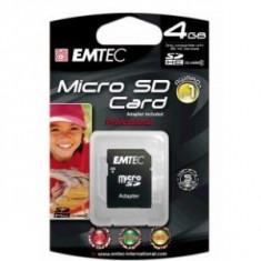 Card MicroSD 4 GB Emtec cu adaptor Clasa 4 - Card memorie
