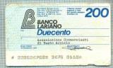A2248 ASIGNAT BILET BANCA LARIANO -ITALIA- 200 LIRE-starea cese vede