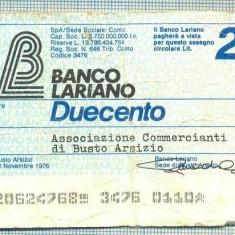 A2248 ASIGNAT BILET BANCA LARIANO -ITALIA- 200 LIRE-starea cese vede - Cambie si Cec