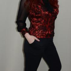 Pantalon moderni, nuanta de bleumarin, curea fashion - Pantaloni dama