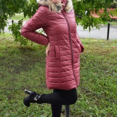 Jacheta tinereasca din fas fin, de culoare marsala, model lung - Jacheta dama