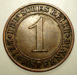 B.124 GERMANIA WEIMAR 1 REICHSPFENNIG 1933 A, Europa, Bronz
